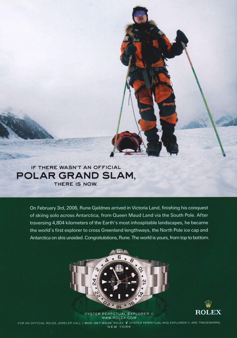 Rolex Explorer II Rune Gjeldnes 2006 Ad | Rolex explorer ii, Rolex explorer, Explore